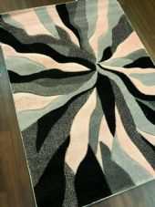 NEW RANGE WOVEN RUG HAND CARVED APROX 6X4FT 120X170CM GREY-BLUSH PINK GREAT RUG